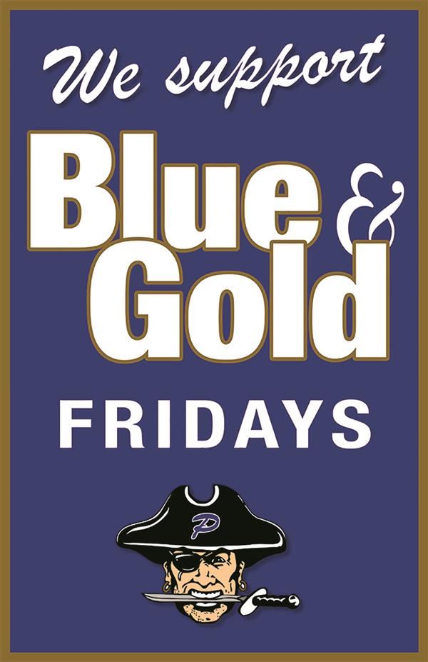 "Image that says ""We support Blue & Gold Fridays."""